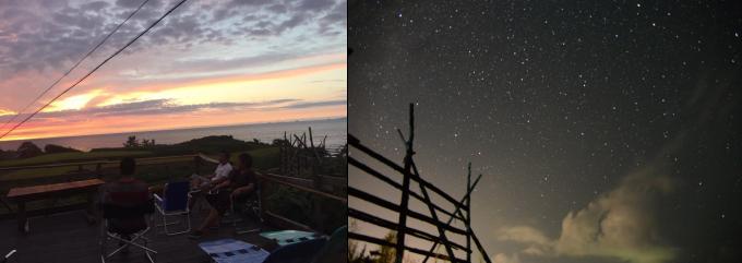 夕陽と星空